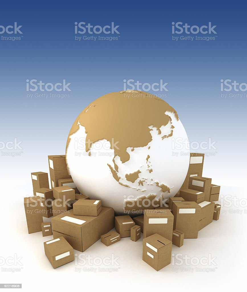 World Globe surrounded by packages Asia oriented royalty-free stock photo