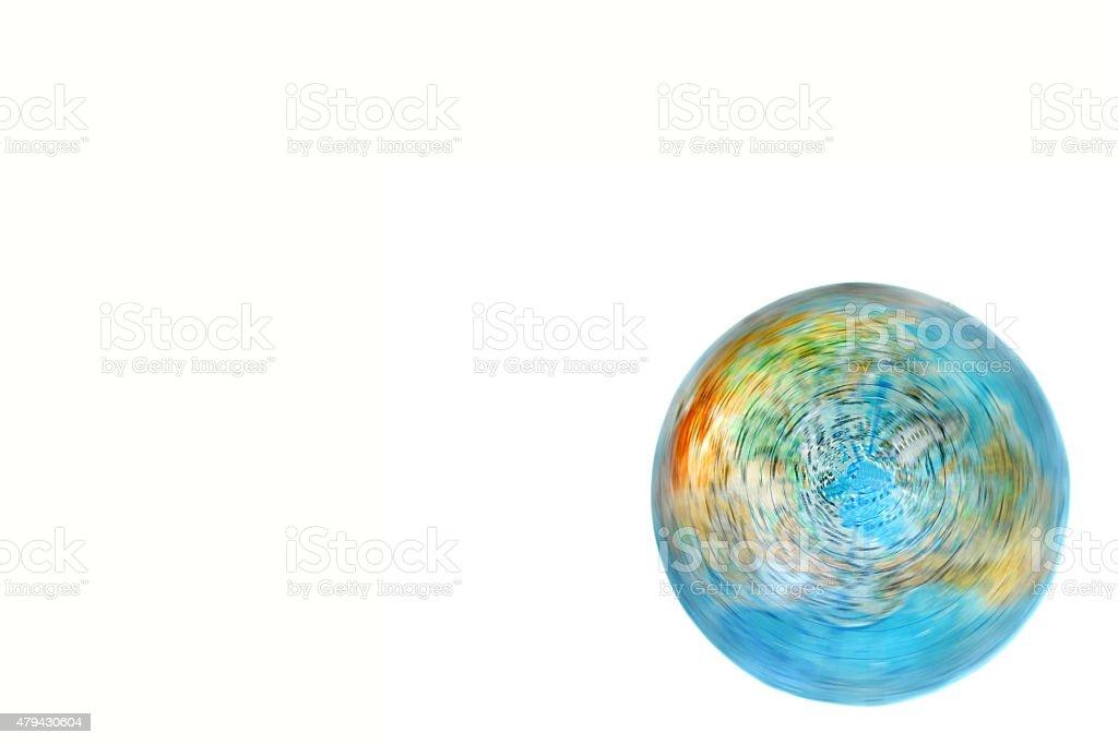 world globe turning on white background stock photo