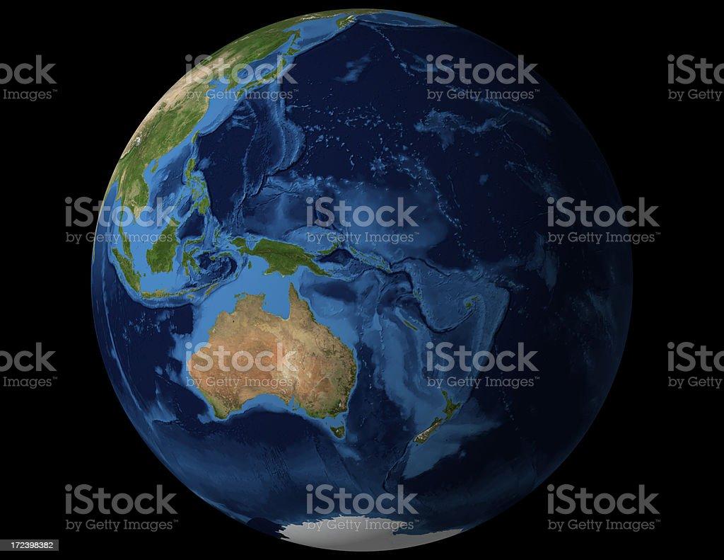 World globe view from Australia and New Zealand royalty-free stock photo