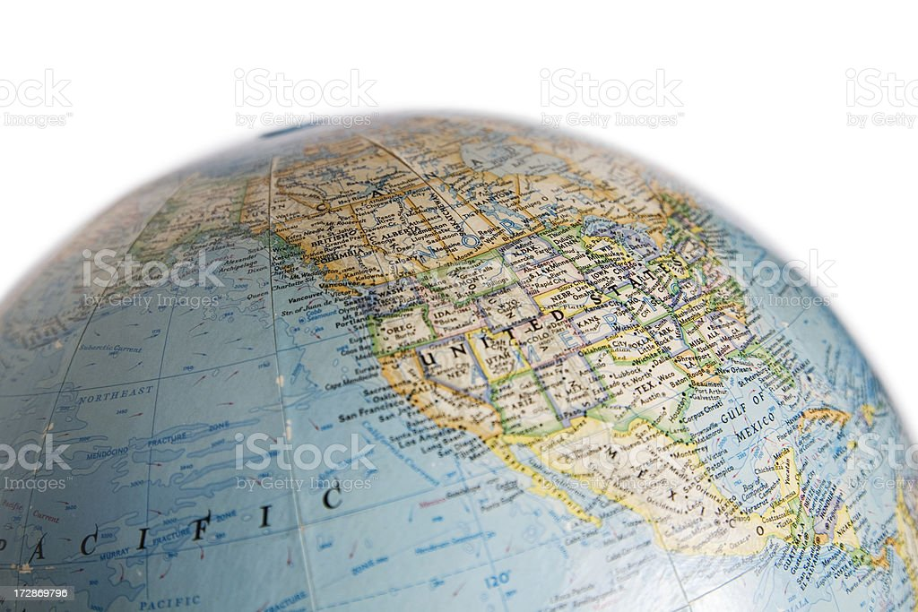 World Globe with Map of USA and North America stock photo