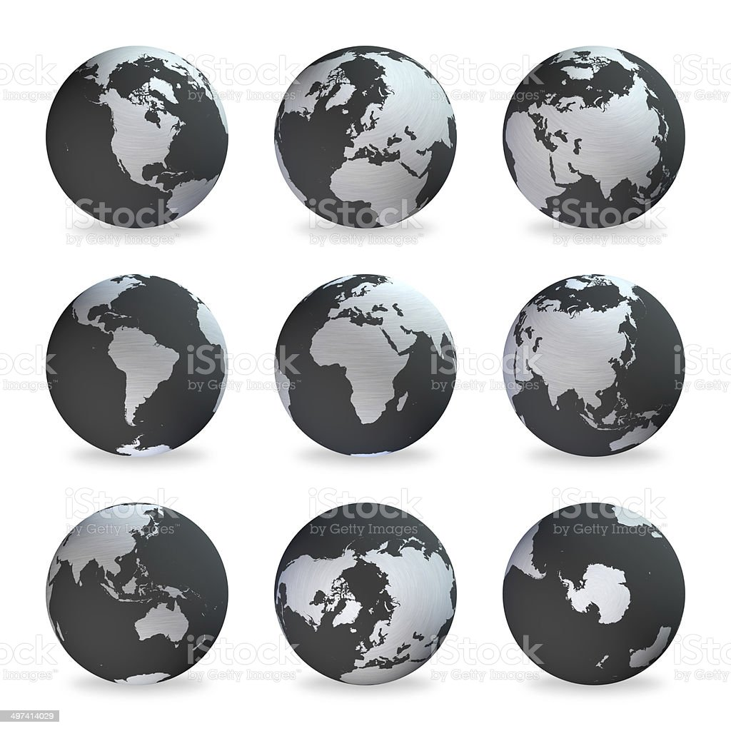 World globes (Clipping Path): Earth map, gray continents, dark oceans stock photo