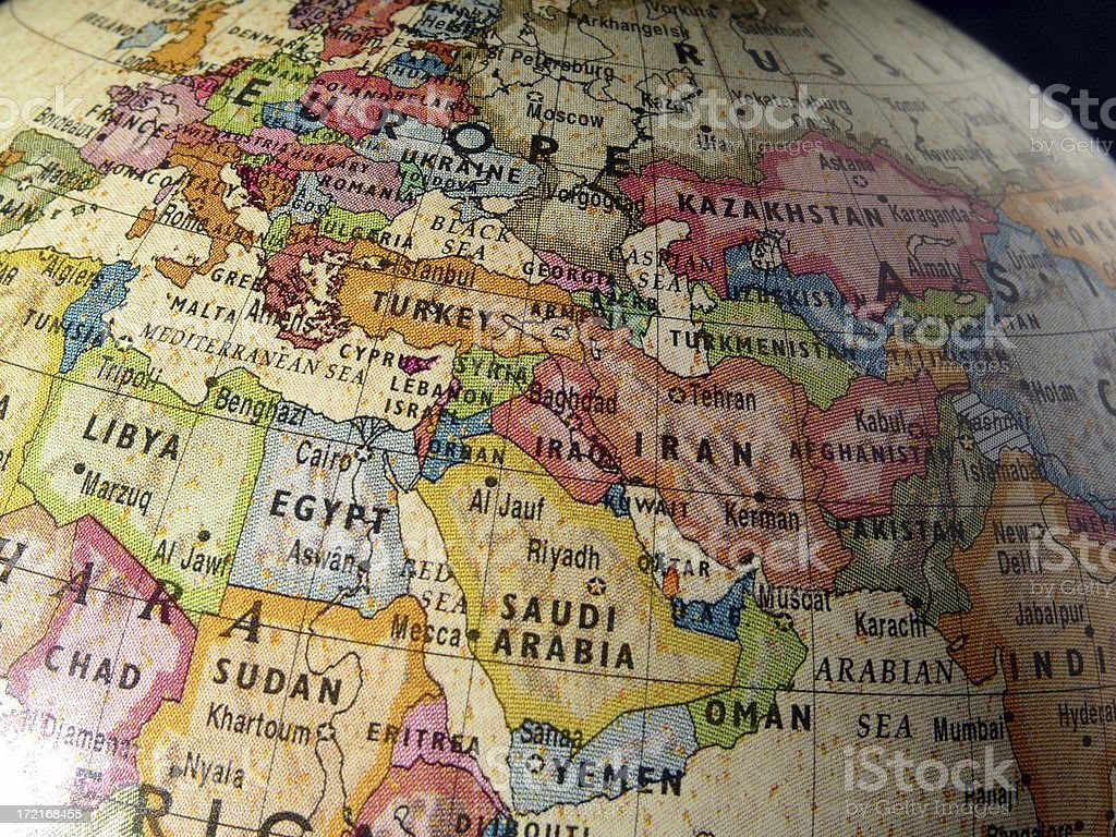 World Gobe: Middle East royalty-free stock photo