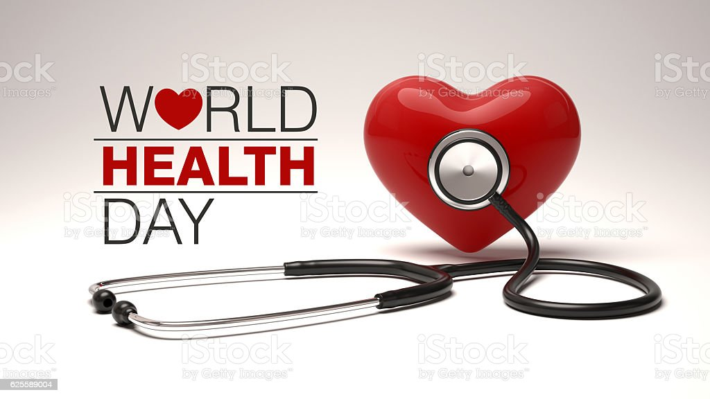 World health day concept with heart and stethoscope. stock photo