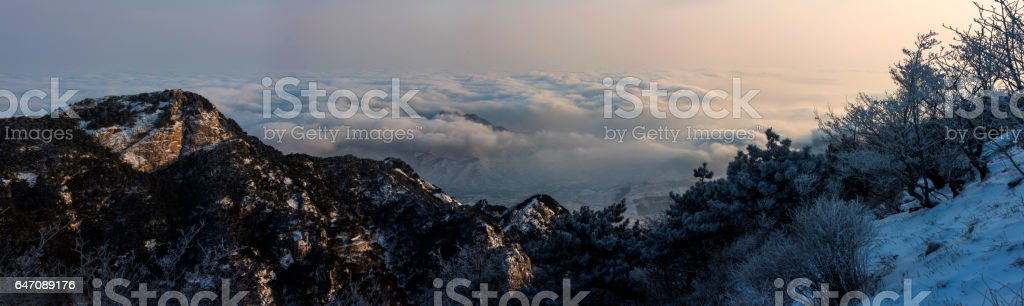 World Heritage and World Cultural Heritage of Mount Tai stock photo