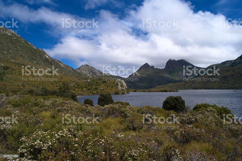 world heritage cradle mountain with dove lake stock photo