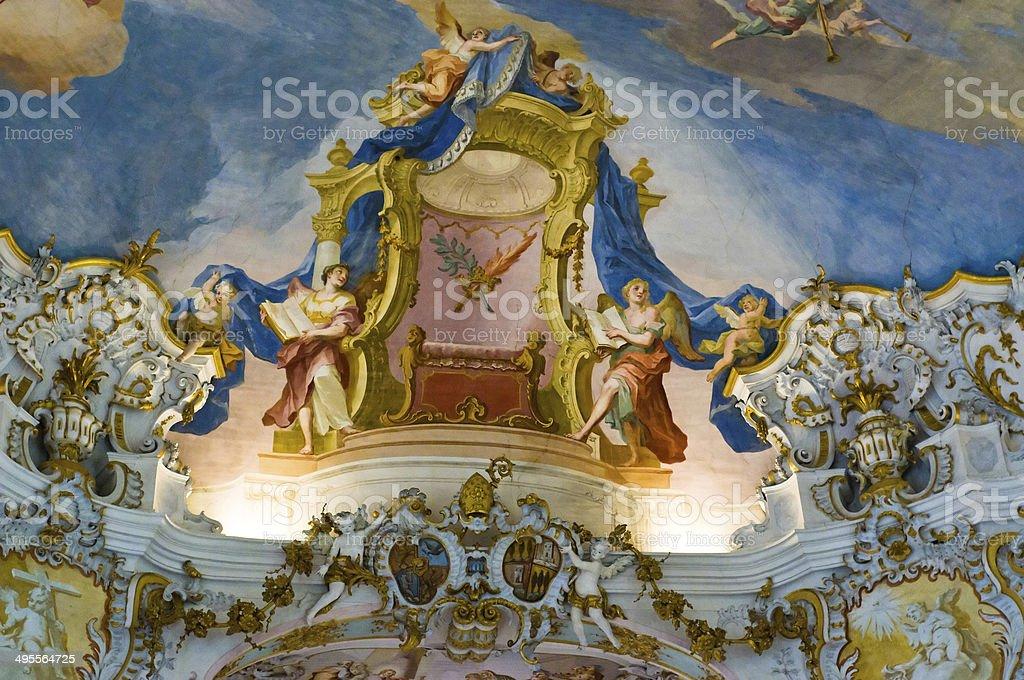 World heritage frescoes of wieskirche church in bavaria stock photo