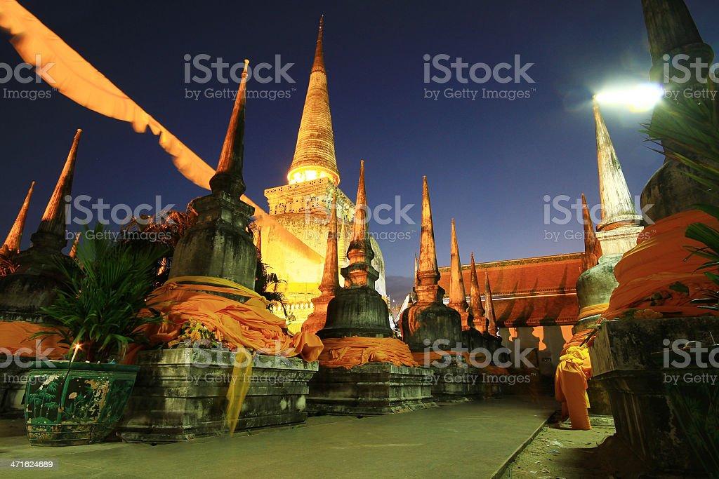 World Heritage Gold pagoda Nakornsrithammarach stock photo