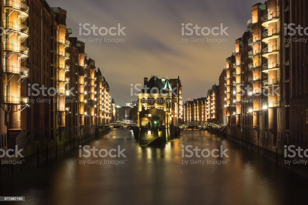 World heritage historic warehouse district Speicherstadt of Hamburg, Germany, at night stock photo