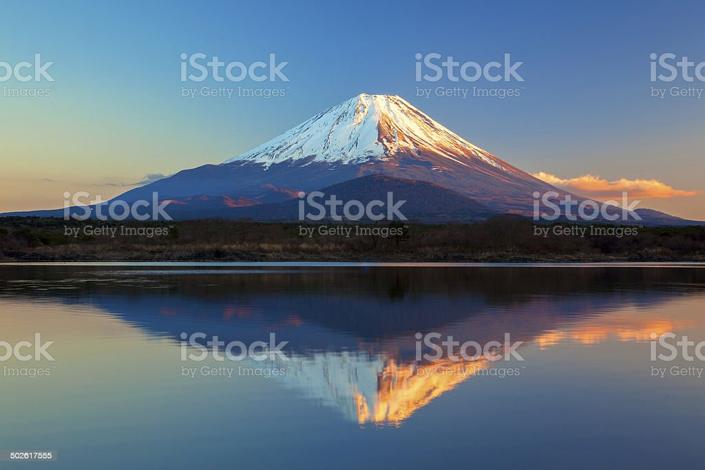 World Heritage Mount Fuji and Lake Shoji stock photo