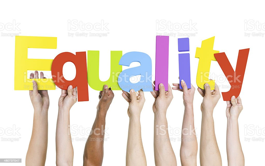 World Human Hands Holding Word Equality stock photo