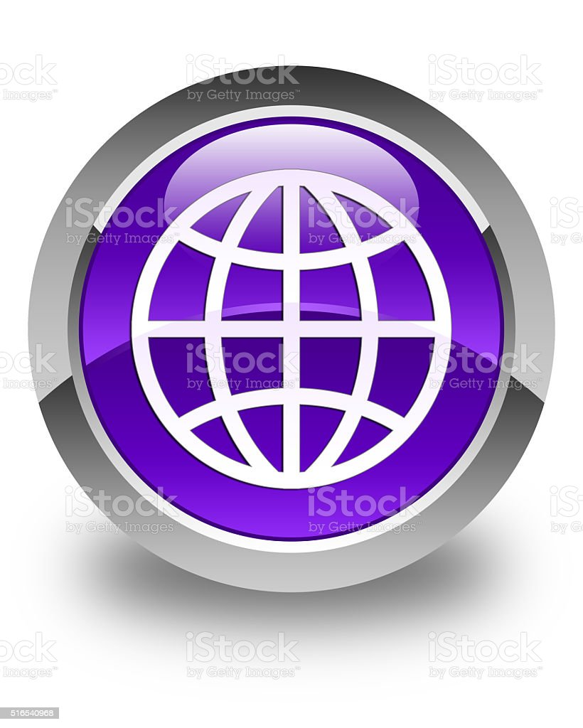 World icon glossy purple round button stock photo