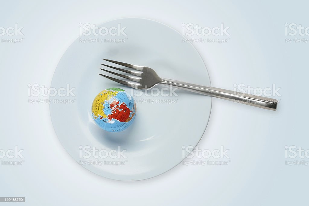 World in a plate with fork royalty-free stock photo