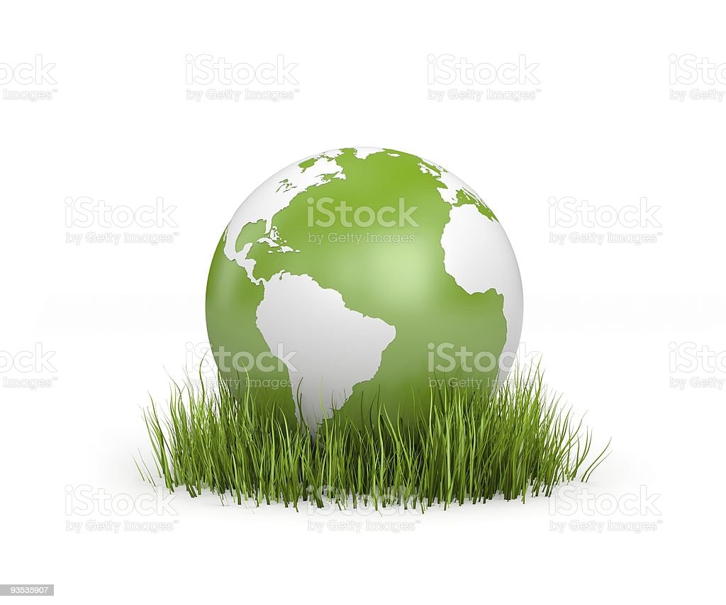World in grass stock photo