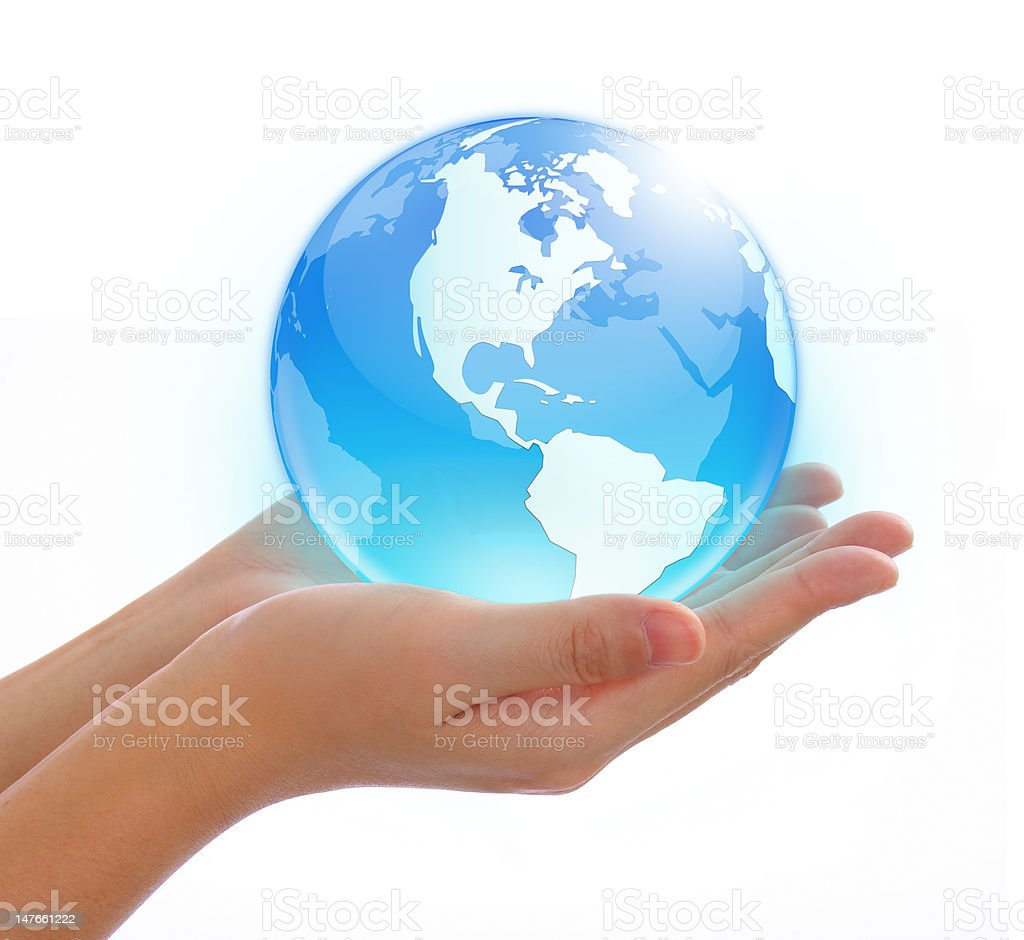 world in hand stock photo