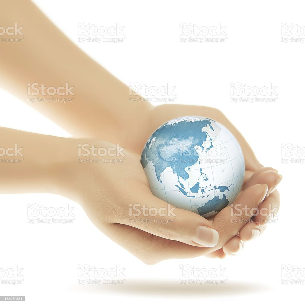 World in Hands - Asian Eastern Hemisphere royalty-free stock photo
