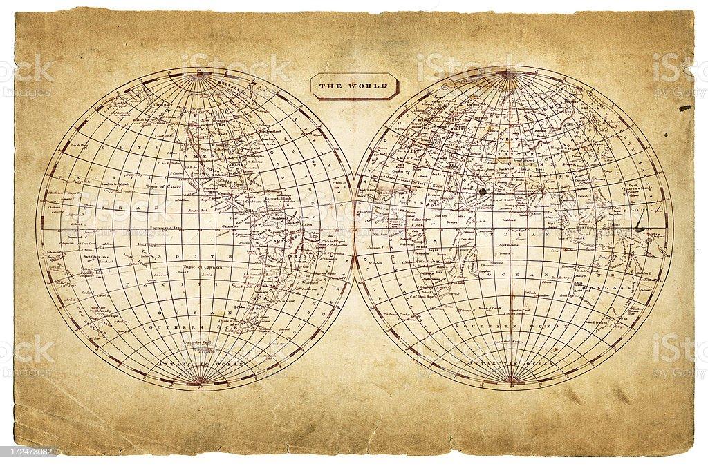 world in hemispheres 1812 royalty-free stock photo