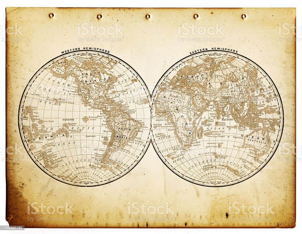 world in hemispheres 1890 stock photo