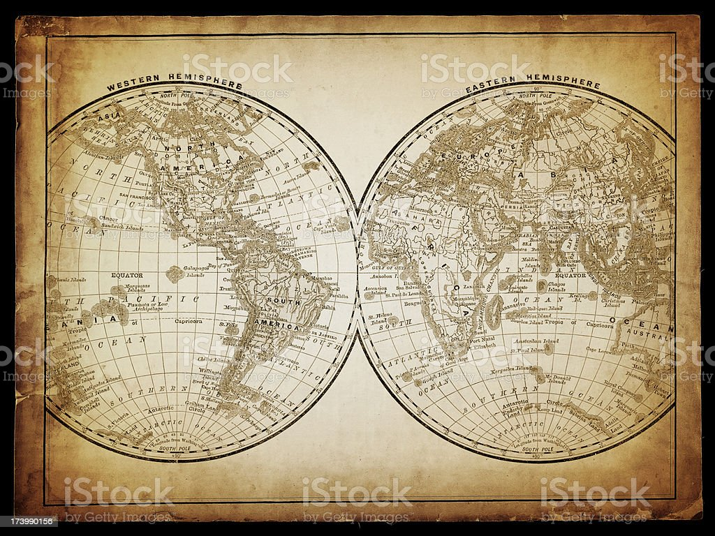 world in hemispheres stock photo