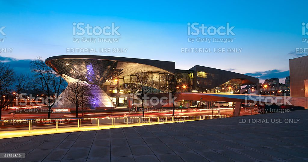 BMW World (BMW Welt) in Munich at night. stock photo