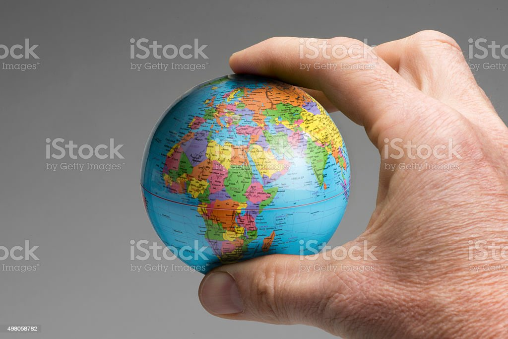 World in our hand stock photo