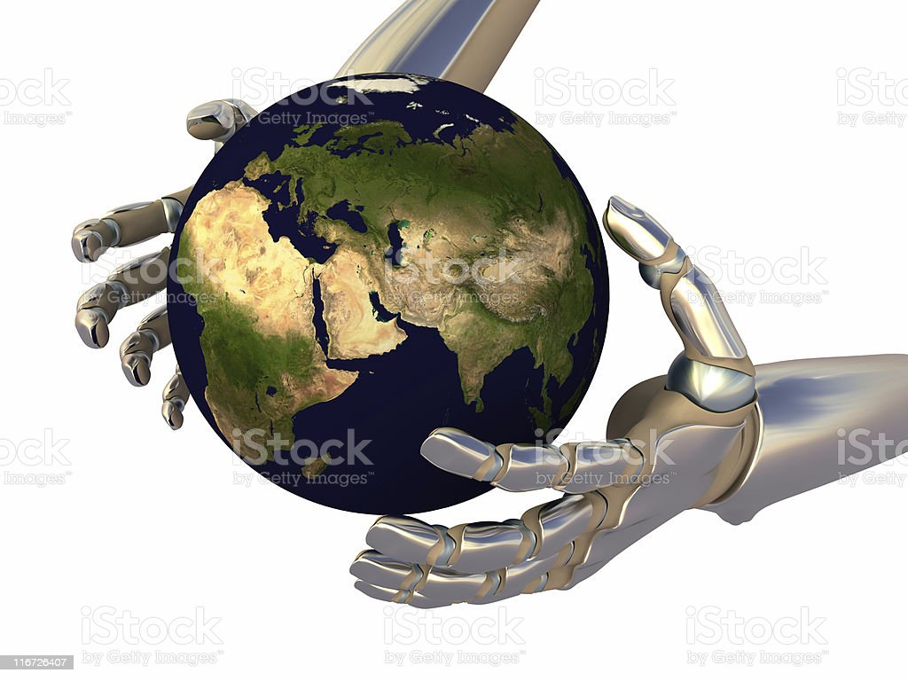 World in the robot hand royalty-free stock photo
