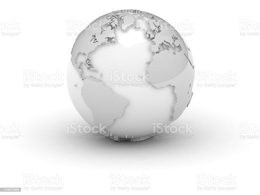 (3d) World in white with relief royalty-free stock photo