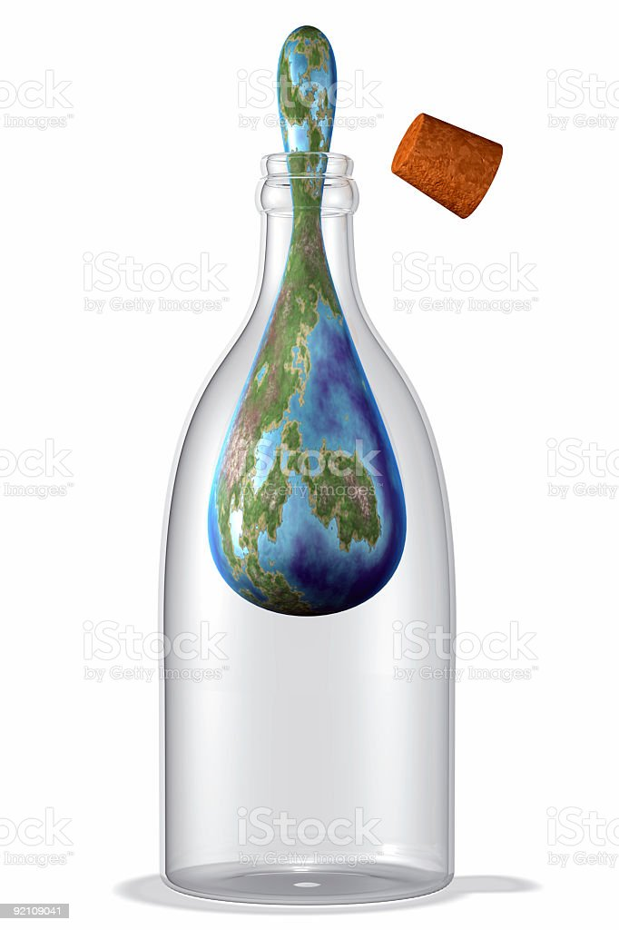 World inside a bottle trying escape royalty-free stock photo