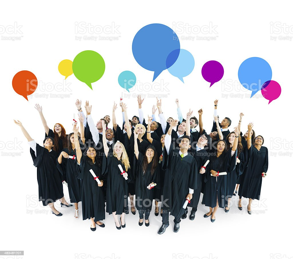 World International Students Celebrating Graduation with Colorful Speech Bubble stock photo