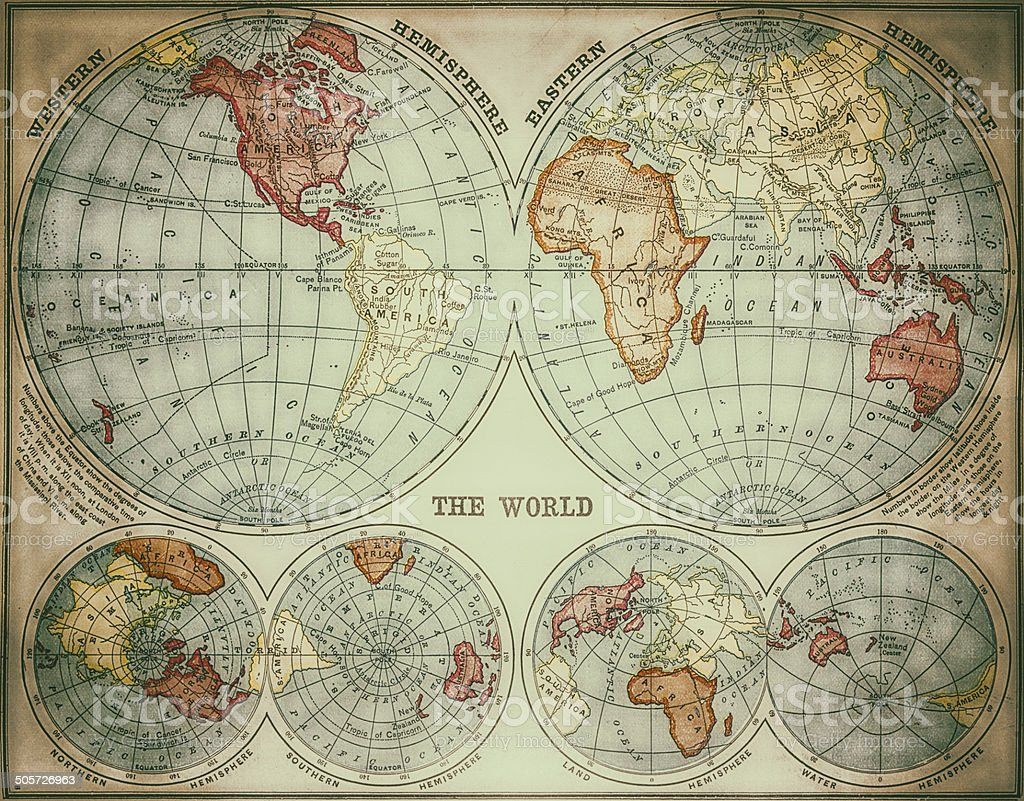 World Map 1882 stock photo