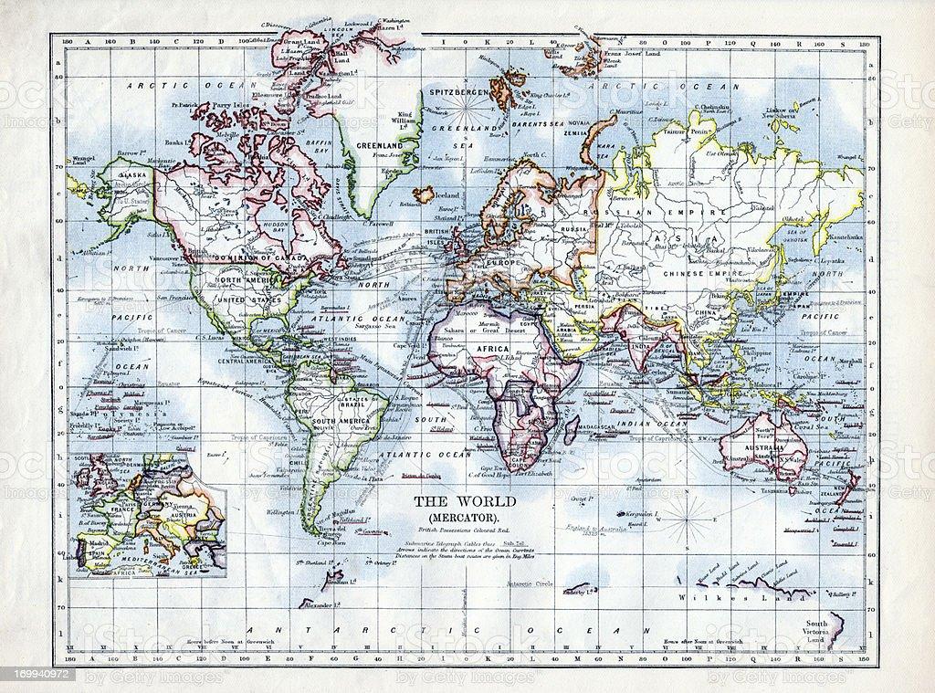 World Map 1895 royalty-free stock photo