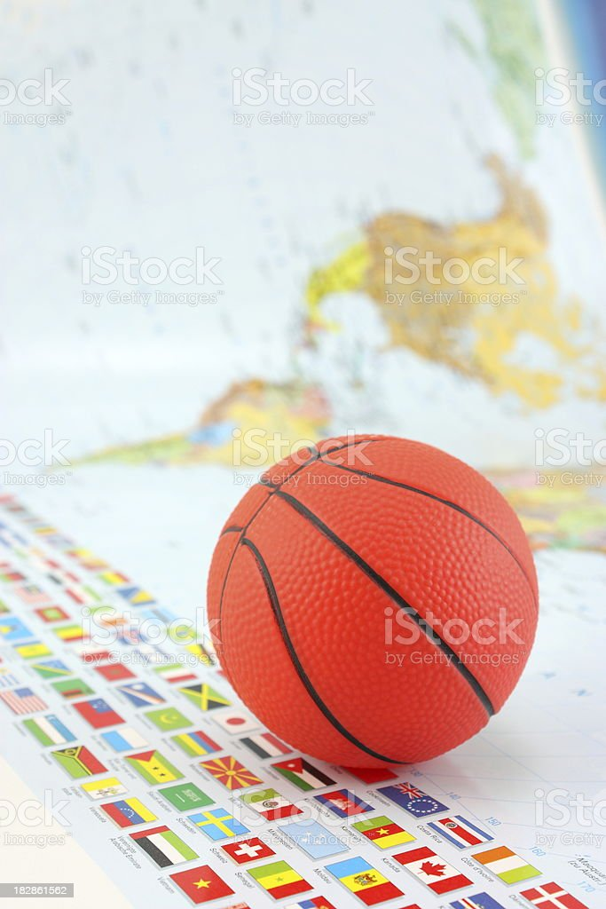 World map and basketball stock photo