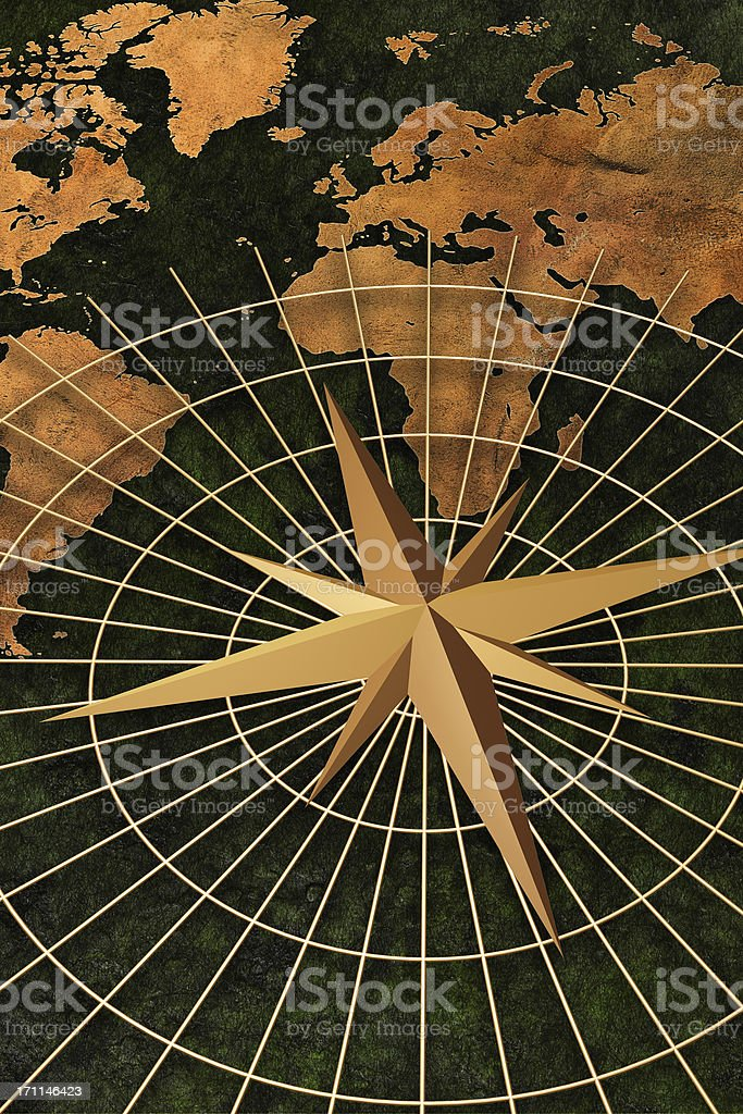 World Map and Compass royalty-free stock photo