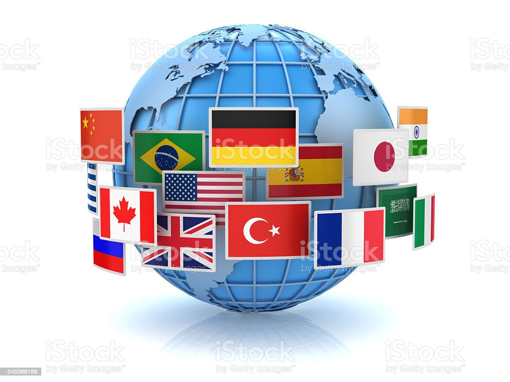 World map and country flags stock photo