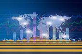 World Map and economic histogram