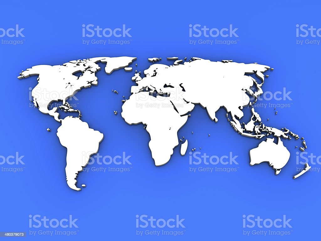 World Map and Oceans stock photo