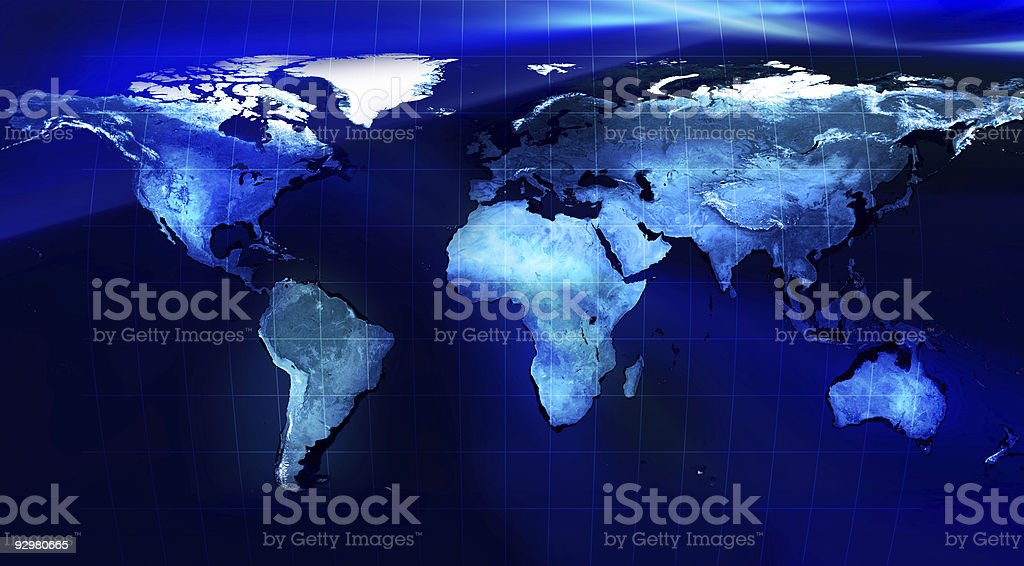 World Map - Blue Planet Earth version with mesh stock photo