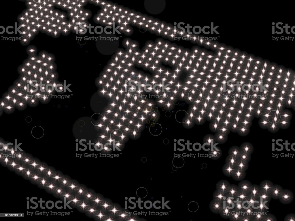 world map, composed of spotlights  on a black background stock photo