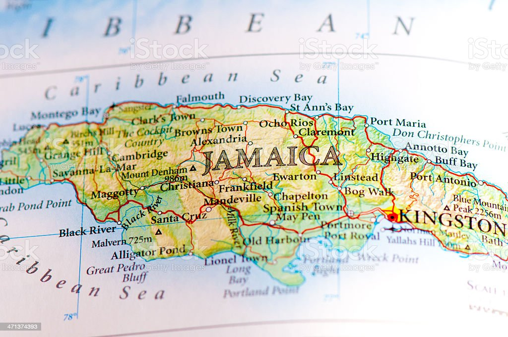 World map displaying the territories within Jamaica stock photo