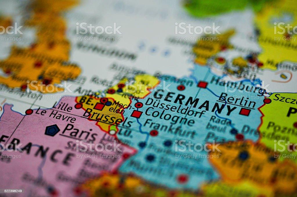 World Map - Dusseldorf - Germany stock photo