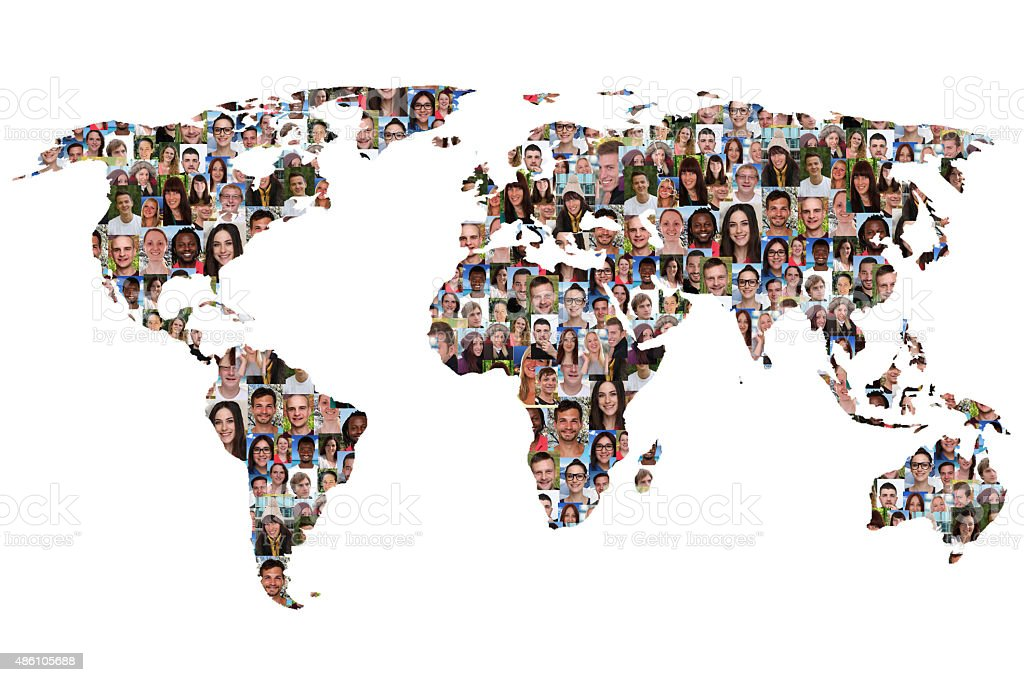 World map earth multicultural group of people integration stock photo