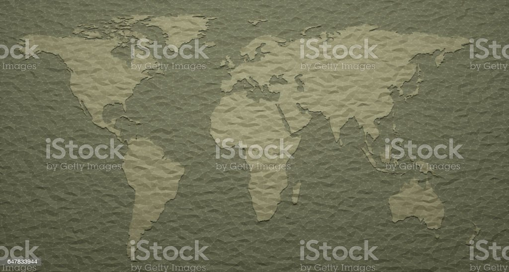 World Map Embossed Details stock photo
