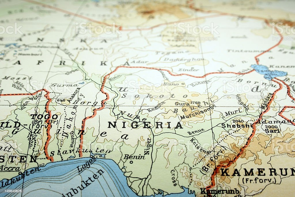 World map focusing on the country of Nigeria stock photo