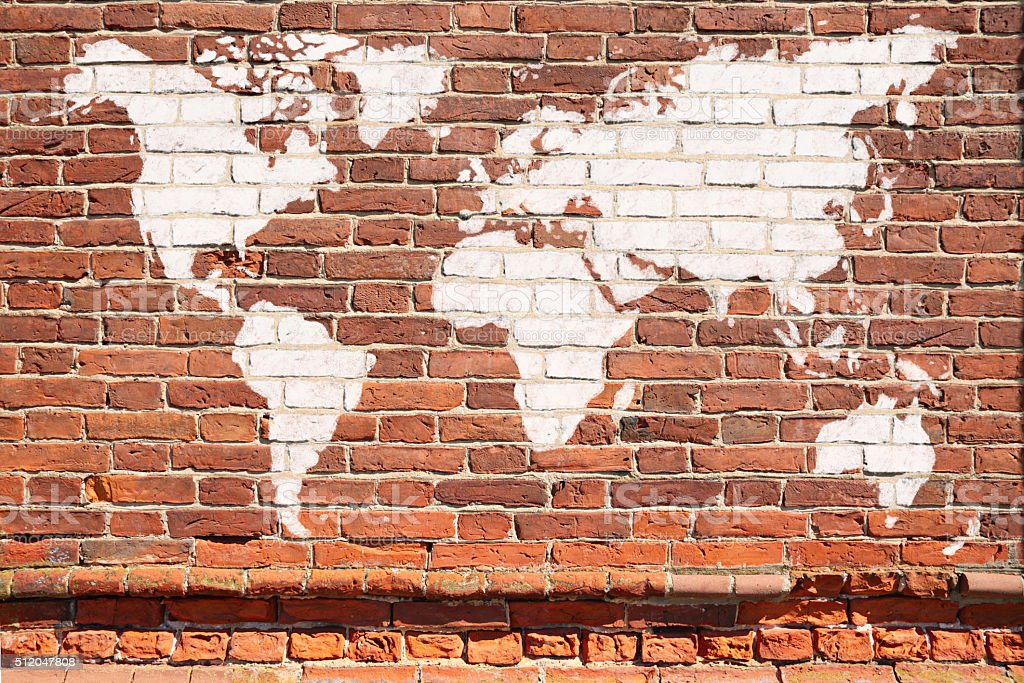 World map graffiti stock photo