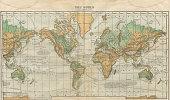 World Map Illustration, Travel, Exploration, Antique 1871 Illustration