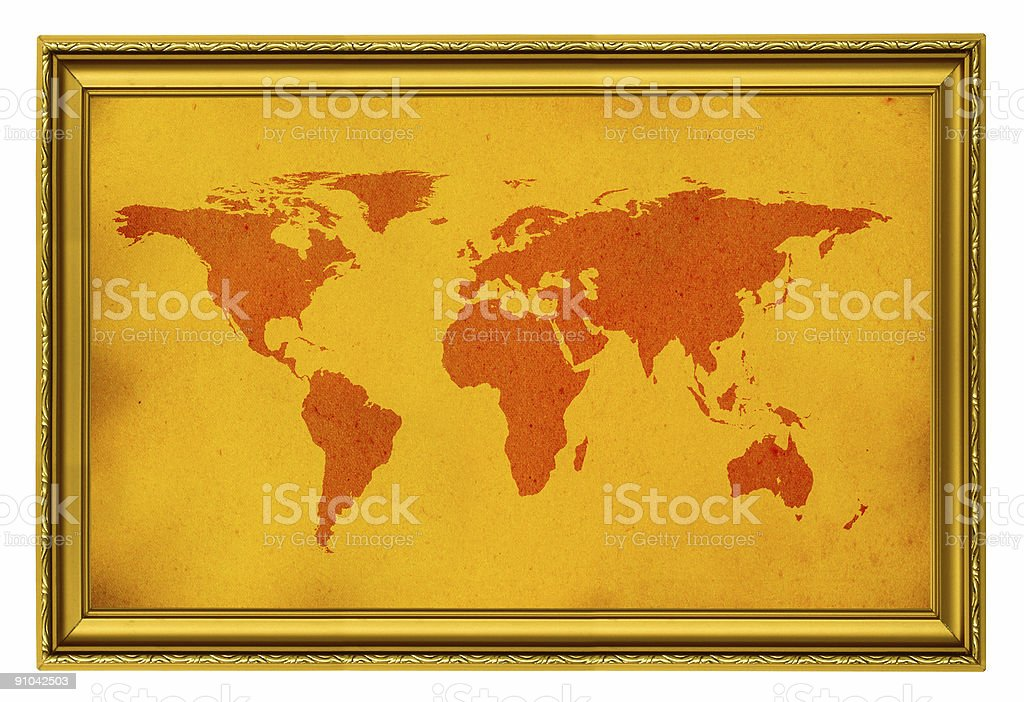 world map in golden frame royalty-free stock photo