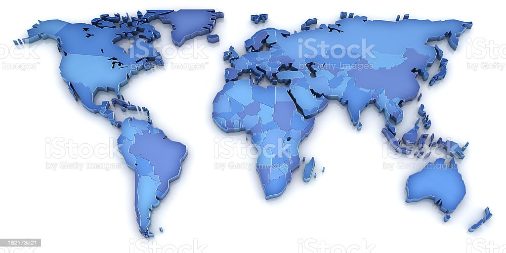 A 3D world map in shades of blue on a white background royalty-free stock photo