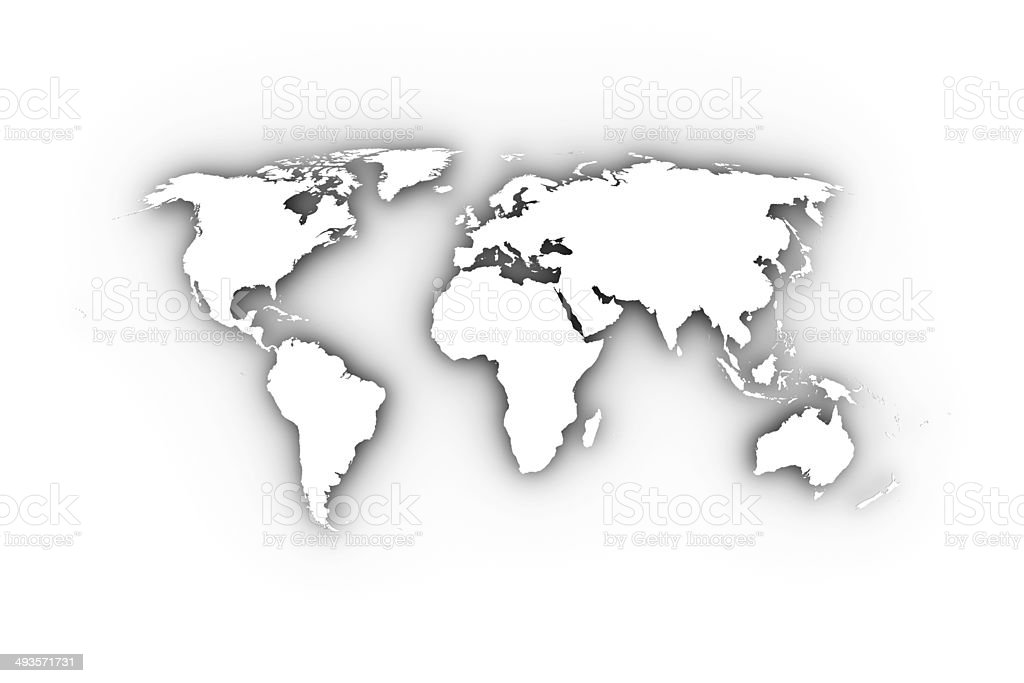 World map in white including a clipping path. stock photo