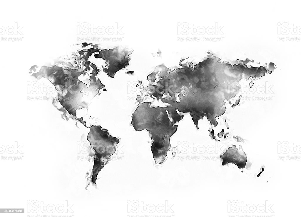 World map ink splatter stock photo
