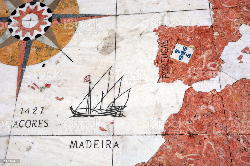 World Map (Mappa Mundi), Lisbon stock photo