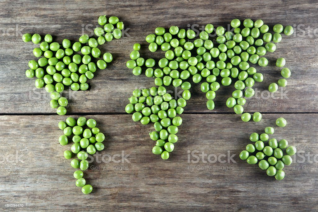 world map made form  peas stock photo